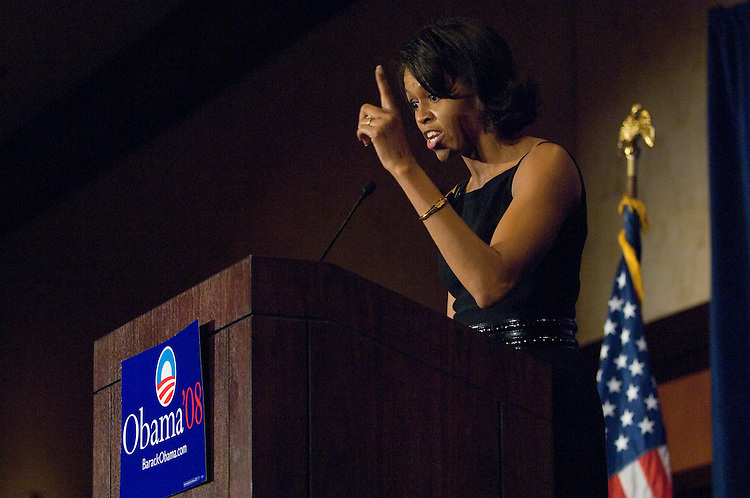 "Michelle Obama speaks during a fund raiser  ""Women for Obama"" a luncheon benefiting   for her husband Senator Barack Obama who is running for President in 2008. The event was held at the Hyatt on at 400 New Jersey Ave in Washington, D.C.."