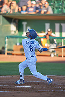 Jeremy Arocho (8) of the Ogden Raptors bats against the Grand Junction Rockies at Lindquist Field on June 15, 2019 in Ogden, Utah. The Raptors defeated the Rockies 12-11. (Stephen Smith/Four Seam Images)