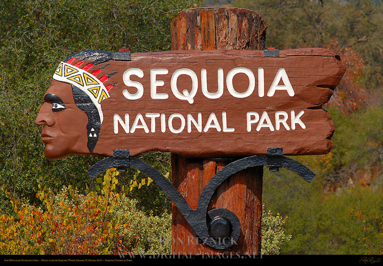 Ash Mountain Entrance Sign in Autumn (detail), Hand-carved Sequoia Wood, George W. Munro 1935, Sequoia National Park