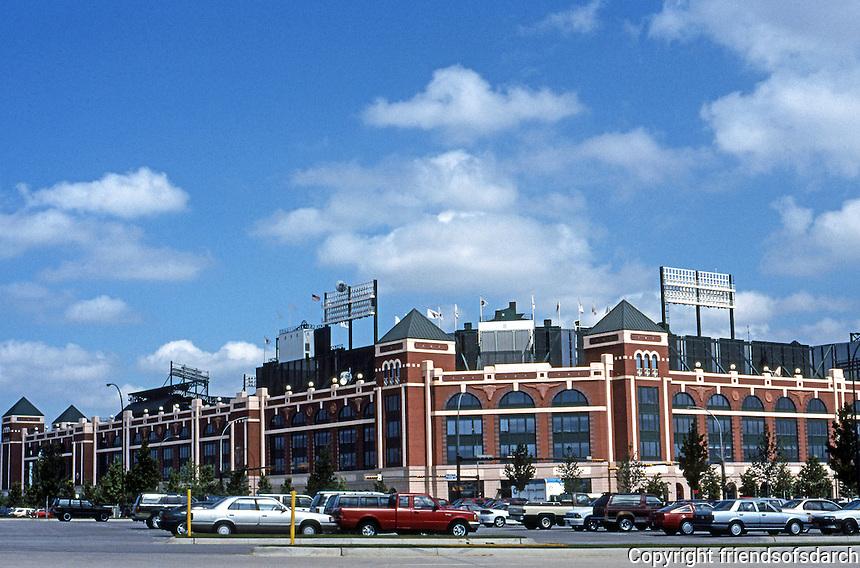 Ballparks: Arlington, TX. The Ballpark--external elevation from Southeast parking lot, morning.