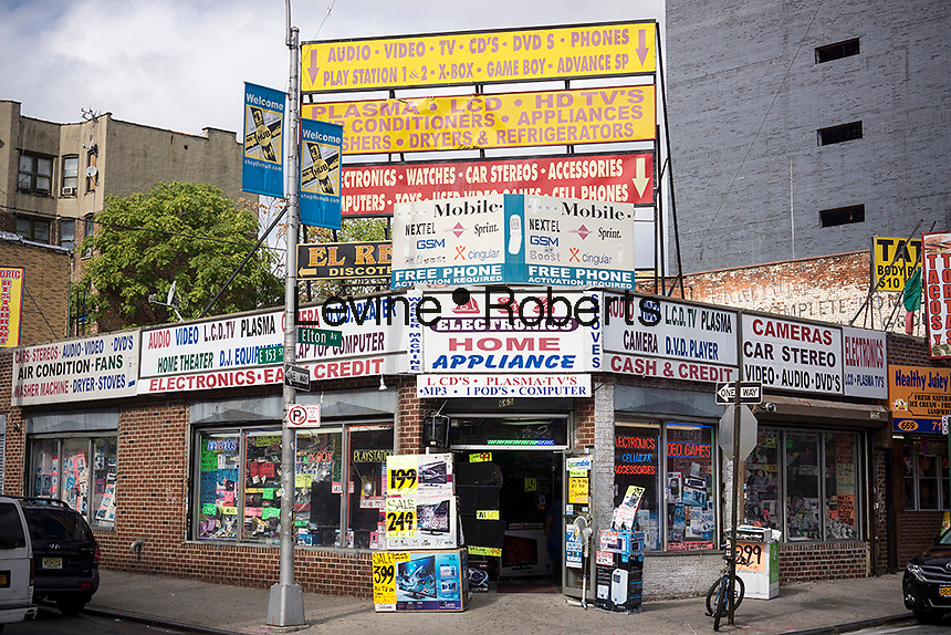 Electronics and appliance store in the Hub in the Melrose neighborhood of the Bronx in New York Sunday, October 13, 2013. (© Richard B. Levine)