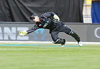 Blackcaps Tom Latham with a nice peice of keeping during the third ODI cricket match between the Blackcaps & England at Westpac stadium, Wellington. 3rd March 2018. © Copyright Photo: Grant Down / www.photosport.nz