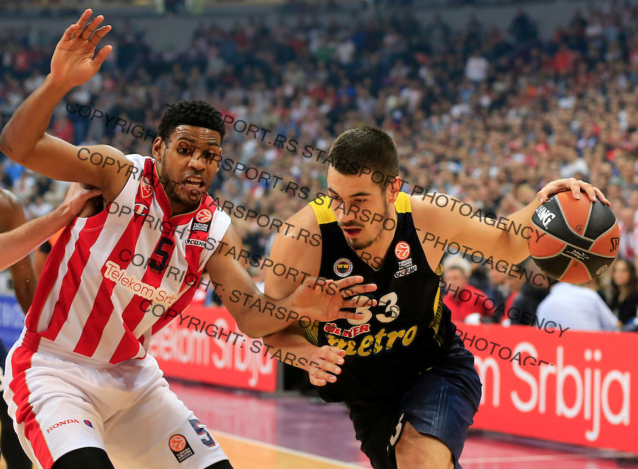 Kosarka Euroleague season 2015-2016<br /> Euroleague <br /> Crvena Zvezda v Fenebahce Istanbul<br /> Nikola Kalinic (R) and Ryan Thompson<br /> Beograd, 06.11.2015.<br /> foto: Srdjan Stevanovic/Starsportphoto &copy;