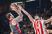 9th February 2018, Aleksandar Nikolic Hall, Belgrade, Serbia; Euroleague Basketball, Crvenz Zvezda mts Belgrade versus AX Armani Exchange Olimpia Milan; Forward Nemanja Dangubic of Crvena Zvezda mts Belgrade blocks Forward Vladimir Micov of AX Armani Exchange Olimpia Milan while he shoots on the basket