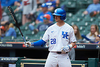 Ryan Johnson (28) of the Kentucky Wildcats at bat against the Sam Houston State Bearkats during game four of the 2018 Shriners Hospitals for Children College Classic at Minute Maid Park on March 3, 2018 in Houston, Texas. The Wildcats defeated the Bearkats 7-2.  (Brian Westerholt/Four Seam Images)