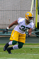 Green Bay Packers running back Devante Mays (32) during an Organized Team Activity on May 23, 2017 at Clarke Hinkle Field in Green Bay, Wisconsin.  (Brad Krause/Krause Sports Photography)