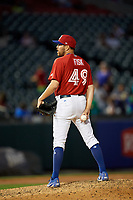 Buffalo Bisons relief pitcher Conor Fisk (49) during a game against the Syracuse Chiefs on July 6, 2018 at Coca-Cola Field in Buffalo, New York.  Buffalo defeated Syracuse 6-4.  (Mike Janes/Four Seam Images)