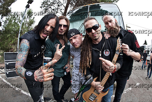 FIVE FINGER DEATH PUNCH - Five Finger Death Punch photographed backstage at the 2011 Epicenter Festival at Verizon Wireless Amphitheatre in Irvine, CA USA - September 24, 2011. Photo credit: Kevin Estrada / Iconicpix