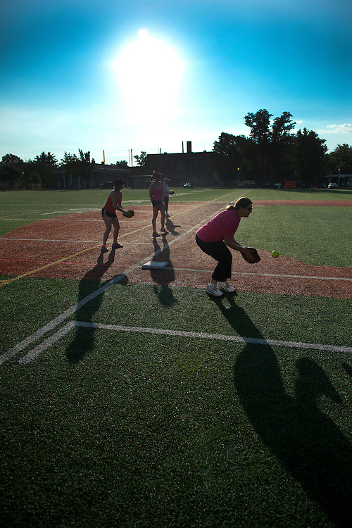 UNITED STATES - June 20: Practice for the Congressional Women's Softball Game at Watkins Elementary in Washington, D. C. on June 20, 2013. The bi-partisan group of women Members of Congress take the field against the the women of the DC Press Corps to raise funds and awareness for young women with breast cancer and will be played on Wednesday, June 26, 2013.   (Photo By Douglas Graham/CQ Roll Call)