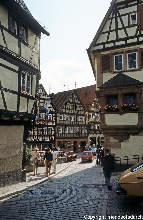 Bad Wimpfen: Buildings of Fachwerk design.  Marktplatz.
