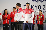 Shinzo Abe,<br /> AUGUST 21, 2016 - : <br /> Japanese prime minister Shinzo Abe attended the exchange meeting with Japan National team member and <br /> their medalist<br /> at Japan House in Rio de Janeiro <br /> during the Rio 2016 Olympic Games in Rio de Janeiro, Brazil. <br /> (Photo by Yusuke Nakanishi/AFLO SPORT)