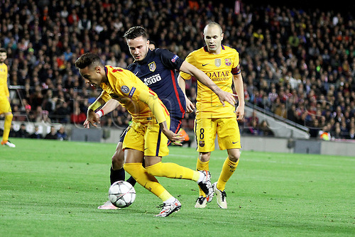 05.04.2016 Nou Camp, Barcelona, Spain. Uefa Champions League Quarter-finals 1st leg. FC Barcelona against Atletico de Madrid.  Neymar in action during the match
