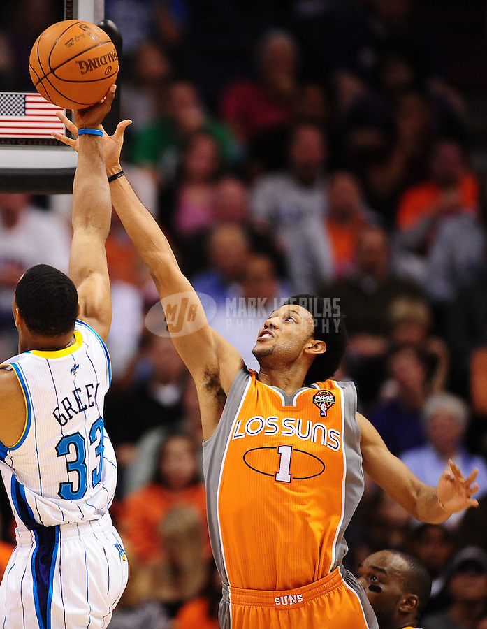 Mar. 25, 2011; Phoenix, AZ, USA; Phoenix Suns guard (1) Josh Childress against the New Orleans Hornets at the US Airways Center. The Hornets defeated the Suns 106-100. Mandatory Credit: Mark J. Rebilas-.