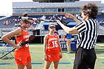 DURHAM, NC - FEBRUARY 16: Campbell's Sarah Paul (15) and Mackenzie Kolesar (22). The Duke University Blue Devils hosted the Campbell University Camels on February 16, 2018, at Koskinen Stadium in Durham, NC in women's college lacrosse match. Duke won the game 18-8.