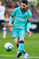 25th January 2020; Mestalla, Valencia, Spain; La Liga Football,Valencia versus Barcelona; Lionel Messi of FCB strikes gets his shot towards goal but saved