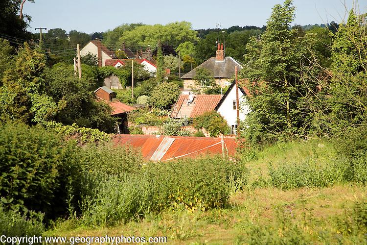 Houses cluster together nucleated village pattern, Shottisham, Suffolk, England