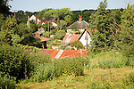 Houses cluster together nucleated village pattern, Shottisham, Suffolk, England