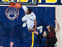 Tyrone Wallace of California shoots the ball during the game against Stanford at Haas Pavilion in Berkeley, California on February 5th, 2014.  Stanford defeated California, 80-69.