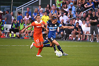 Kansas City, MO - Saturday May 07, 2016: FC Kansas City forward Shea Groom (2) against Houston Dash midfielder Andressa Machry (17) during a regular season National Women's Soccer League (NWSL) match at Swope Soccer Village. Houston won 2-1.
