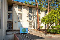Braun Hall. One of many dumpsters painted by students as part of the Dumpster Art Project, sponsored by the Office of Sustainability. Photographed June 8, 2018.<br /> (Photo by Marc Campos, Occidental College Photographer)