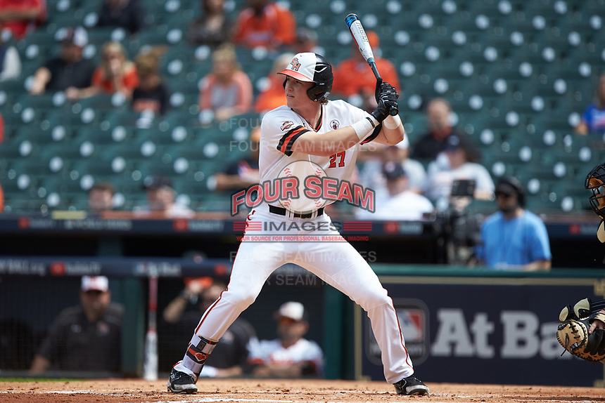 Blake Chisolm (27) of the Sam Houston State Bearkats at bat against the Vanderbilt Commodores in game one of the 2018 Shriners Hospitals for Children College Classic at Minute Maid Park on March 2, 2018 in Houston, Texas. The Bearkats walked-off the Commodores 7-6 in 10 innings.   (Brian Westerholt/Four Seam Images)