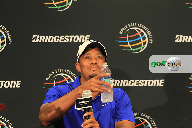 Tiger Woods (USA) in the interview room during Wednesday's practice day of the 2012 World Golf Championship Bridgestone Invitational at The Firestone Country Club, Akron, Ohio, USA 1st August 2012 (Photo Eoin Clarke/www.golffile.ie)