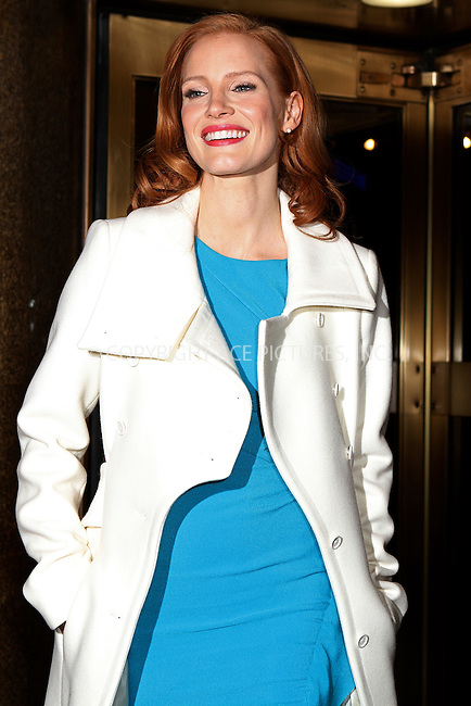 WWW.ACEPIXS.COM....January 18 2013, New York City....Actress Jessica Chastain at the Walter Kerr Theater for a performance of the Broadway play 'The Heiress' on January 18 2013 in New York City......By Line: Nancy Rivera/ACE Pictures......ACE Pictures, Inc...tel: 646 769 0430..Email: info@acepixs.com..www.acepixs.com