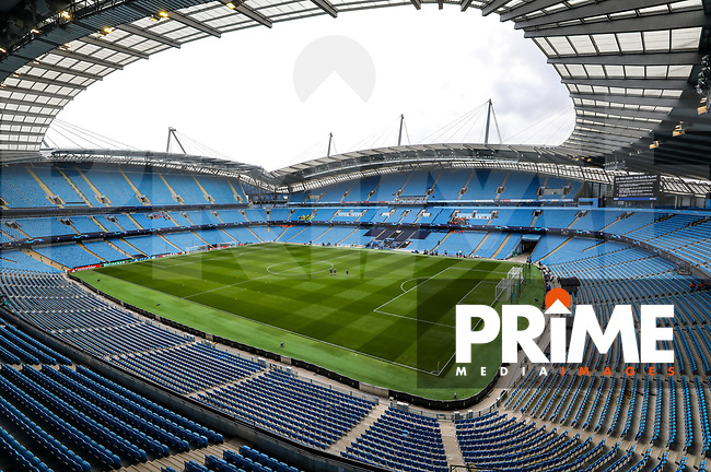 """""""General view of the Etihad Stadium, home of Manchester City Football Club"""" during the UEFA Champions League match between Manchester City and Olympique Lyonnais at the Etihad Stadium, Manchester, England on 19 September 2018. Photo by David Horn / PRiME Media Images."""