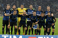 Calcio, Serie A: Milano, stadio Giuseppe Meazza, 15 ottobre 2017.<br /> Inter's players pose for the pre match photograph prior to the start of the Italian Serie A football match between Inter and Milan at Giuseppe Meazza (San Siro) stadium, October15, 2017.<br /> UPDATE IMAGES PRESS/Isabella Bonotto