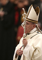Pope Francis arrives to celebrate the Christmas Eve Mass in St. Peter's Basilica at the Vatican, on December 24, 2018.<br /> UPDATE IMAGES PRESS/Isabella Bonotto<br /> <br /> STRICTLY ONLY FOR EDITORIAL USE