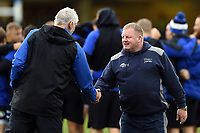 Bath Director of Rugby Todd Blackadder and Sale Sharks assistant coach Dorian West prior to the match. Gallagher Premiership match, between Bath Rugby and Sale Sharks on December 2, 2018 at the Recreation Ground in Bath, England. Photo by: Patrick Khachfe / Onside Images