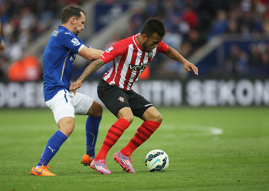Leicester City's Daniel Drinkwater (L) and Southampton's Ryan Bertrand in action during todays match  <br /> <br /> Photographer Jack Phillips/CameraSport<br /> <br /> Football - Barclays Premiership - Leicester City v Southampton - Saturday 9th May 2015 - King Power stadium - Leicester<br /> <br /> &copy; CameraSport - 43 Linden Ave. Countesthorpe. Leicester. England. LE8 5PG - Tel: +44 (0) 116 277 4147 - admin@camerasport.com - www.camerasport.com
