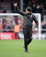 Lincoln City manager Danny Cowley celebrates at the end of the game<br /> <br /> Photographer Chris Vaughan/CameraSport<br /> <br /> The EFL Sky Bet League Two - Lincoln City v Grimsby Town - Saturday 19 January 2019 - Sincil Bank - Lincoln<br /> <br /> World Copyright © 2019 CameraSport. All rights reserved. 43 Linden Ave. Countesthorpe. Leicester. England. LE8 5PG - Tel: +44 (0) 116 277 4147 - admin@camerasport.com - www.camerasport.com