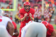 College Park, MD - NOV 12, 2016: Maryland Terrapins quarterback Caleb Rowe (7) in action during game between Maryland and Ohio State at Capital One Field at Maryland Stadium in College Park, MD. (Photo by Phil Peters/Media Images International)