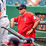 22 July 2018: Syracuse SkyChiefs Manager Randy Knorr watches game action against the Louisville Bats at NBT Bank Stadium in Syracuse, NY. The Bats defeated the Chiefs 3-1 in AAA International League play. Mandatory Credit: Ed Wolfstein Photo *** RAW (NEF) Image File Available ***