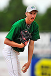 22 June 2009: Vermont Lake Monsters' pitcher Graham Hicks warms up prior to facing the Tri-City ValleyCats at Historic Centennial Field in Burlington, Vermont. The Lake Monsters defeated the visiting ValleyCats 5-4 in extra innings. Mandatory Photo Credit: Ed Wolfstein Photo