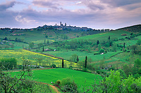 Landscape of Tuscany with Medieval hilltop town of San Gimignano, Tuscany, Italy, AGPix_0097.