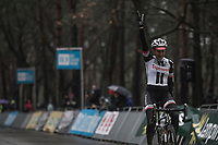Race winner Lucinda Brand (NED/Team Sunweb) crossing teh finish line<br /> <br /> women's elite race<br /> Lampiris Zilvermeercross Mol / Belgium 2017