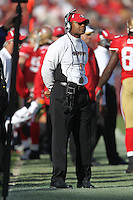 SAN FRANCISCO - DECEMBER 27:  Head coach Mike Singletary of the San Francisco 49ers watches the game against the Detroit Lions at Candlestick Park on December 27, 2009 in San Francisco, California. The 49ers beat the Lions 20-6. Photo by Brad Mangin