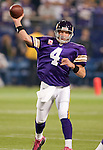 Minnesota Vikings quarterback Brett Favre (4) throws a pass during an NFL football game against the Green Bay Packers at the Hubert H. Humphrey Metrodome on October 5, 2009 in Minneapolis, Minnesota. The Vikings won 30-23. (AP Photo/David Stluka)