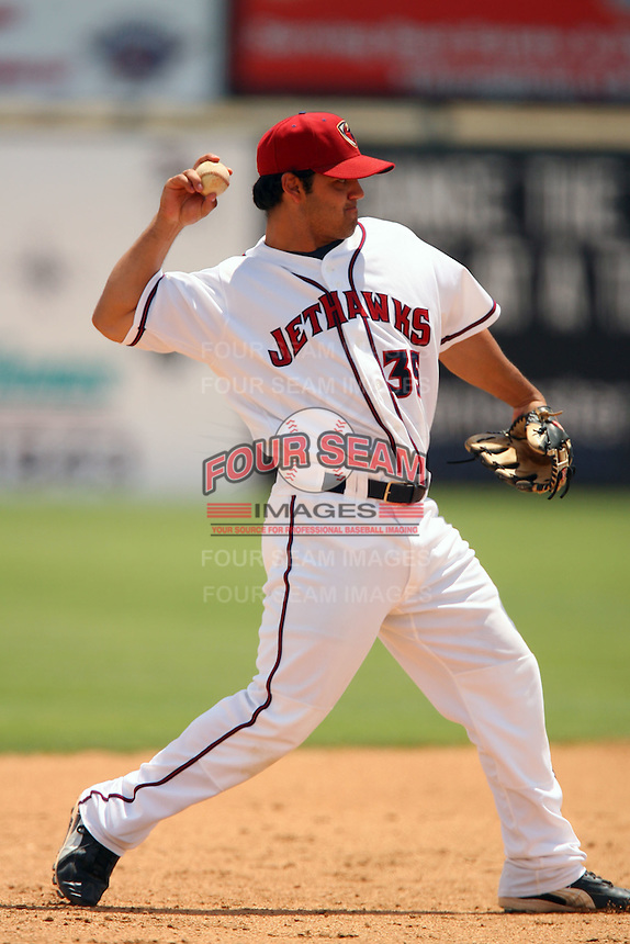 May 22 2008: Aaron Reza of the Lancaster JetHawks during game against the Stockton Ports at Clear Channel Stadium in Lancaster,CA.  Photo by Larry Goren/Four Seam Images