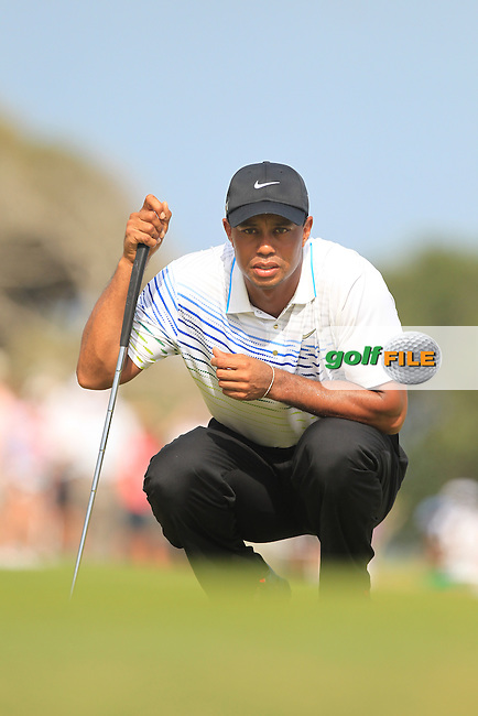 Tiger Woods (USA) lines up his putt on the 7th green during Saturday's Round 3 of the 94th PGA Golf Championship at The Ocean Course, Kiawah Island, South Carolina, USA 10th August 2012 (Photo Eoin Clarke/www.golffile.ie)