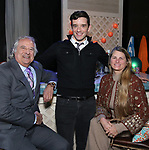 Stewart F. Lane, Michael Urie and Bonnie Comley behind the scenes as BroadwayHD Films 'Bright Colors And Bold Patterns' directed by Michael Urie at The Soho Playhouse on April 9, 2018 in New York City.