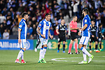 Luciano Neves (c) of Deportivo Leganes celebrates with teammates Diego Rico and Lluis Sastre Reus during their La Liga match between Deportivo Leganes and Real Madrid at the Estadio Municipal Butarque on 05 April 2017 in Madrid, Spain. Photo by Diego Gonzalez Souto / Power Sport Images