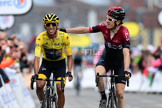Race leader Yellow Jersey Egan Bernal (COL) and team mate Geraint Thomas (WAL) Team Ineos cross the finish line at the end of Stage 20 of the 2019 Tour de France running 59.5km from Albertville to Val Thorens, France. 27th July 2019.<br /> Picture: ASO/Alex Broadway | Cyclefile<br /> All photos usage must carry mandatory copyright credit (© Cyclefile | ASO/Alex Broadway)