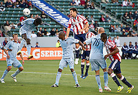CARSON, CA - April 1, 2012: Heath Pearce (3) of Chivas during the Chivas USA vs Sporting KC match at the Home Depot Center in Carson, California. Final score Sporting KC 1, Chivas USA 0.