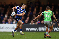 Jonathan Joseph of Bath Rugby looks to pass the ball. Gallagher Premiership match, between Bath Rugby and Harlequins on March 2, 2019 at the Recreation Ground in Bath, England. Photo by: Patrick Khachfe / Onside Images