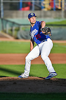 Ogden Raptors starting pitcher Adam Bray (38) delivers a pitch to the plate against the Idaho Falls Chukars in Pioneer League action at Lindquist Field on August 27, 2015 in Ogden, Utah. Ogden defeated the Chukars 4-3. (Stephen Smith/Four Seam Images)