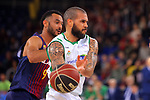 League ACB-ENDESA 2017/2018 - Game: 27.<br /> FC Barcelona Lassa vs Real Betis Energia Plus: 121-56.<br /> Adam Raga vs Blake Schilb.