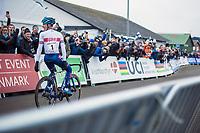 A dominant Ben Tulett (GBR) wins the Men&rsquo;s Junior race<br /> <br /> Men's junior race<br /> <br /> UCI 2019 Cyclocross World Championships<br /> Bogense / Denmark<br /> <br /> &copy;kramon